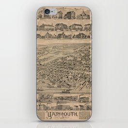 Vintage Pictorial Map of Yarmouth Nova Scotia (1889) iPhone Skin