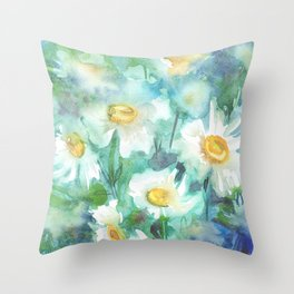 watercolor drawing - white daisies on a blue and green background, beautiful bouquet, painting Throw Pillow