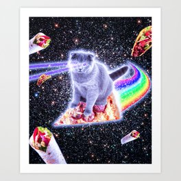 Laser Eyes Space Cat Riding Rainbow Pizza Art Print