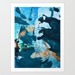 Dust and Matter: a pretty abstract painting in blue and gold by Alyssa Hamilton art Art Print
