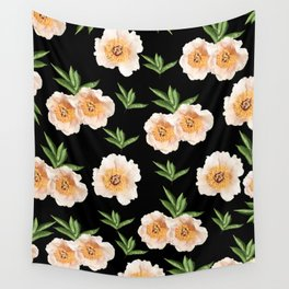 Peonies Flower Pattern on Black #1 #floral #decor #art #society6 Wall Tapestry