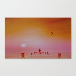 Boy with kite and dog Canvas Print