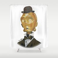 c3po Shower Curtains featuring Sir C3PO by theMAINsketch