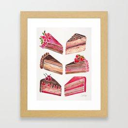 Cake Slices – Pink & Brown Palette Framed Art Print