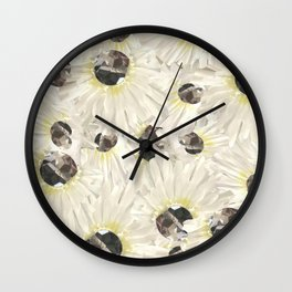 Citrine White Floral Wall Clock
