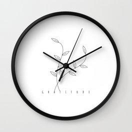 Gratitude zen meditation slogan quote with flower Wall Clock