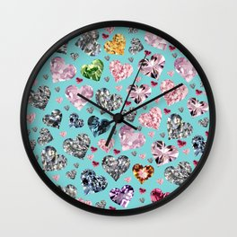 Heart Diamonds are Forever Love Wall Clock
