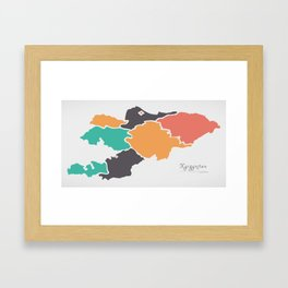 Kyrgyzstan Map with states and modern round shapes Framed Art Print
