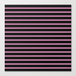 Black & Light Pink Stripes Canvas Print