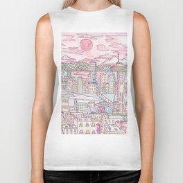 Seattle in Colored Pencil Biker Tank