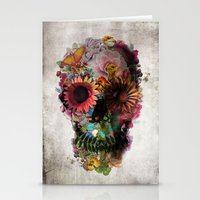 navy Stationery Cards featuring SKULL 2 by Ali GULEC