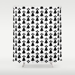 Black and White Ermine Spots French Country Print Shower Curtain