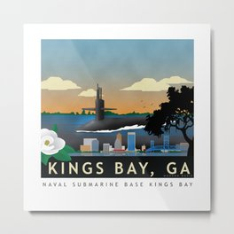 Kings Bay, GA - Retro Submarine Travel Poster Metal Print