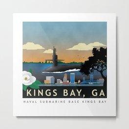 Kings Bay, GA - Retro Submarine Travel Poster Metal Print