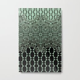 floral border with geo mix in light steel Metal Print