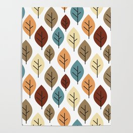 cute colorful autumn fall pattern background illustration with leaves Poster