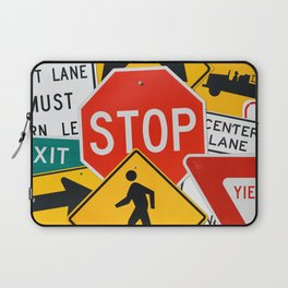 Road Traffic Sign Collage Laptop Sleeve