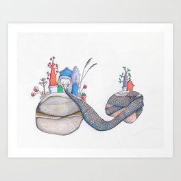 The knitter Art Print