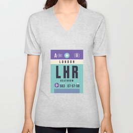 Baggage Tag A - LHR London Heathrow Unisex V-Neck