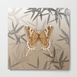 Beautiful Copper Butterfly Design Metal Print