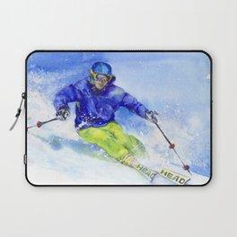 Watercolor skier, skiing illustration Laptop Sleeve