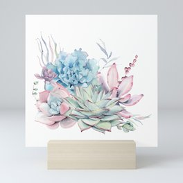 Pretty Pastel Succulents Mini Art Print