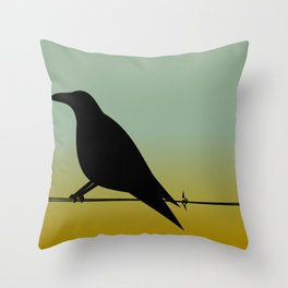 Crow on a (Barbed) Wire Throw Pillow
