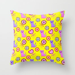 Cute happy baby tigers, colorful retro vintage heart lollipops nursery yellow pattern design Throw Pillow
