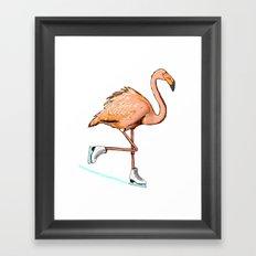 Flamingo on ice Framed Art Print