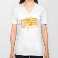 cabin V-neck T-shirts featuring Family Cabin by Robert Cooper