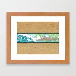Ala Moana Diamond Head Hawaiian Surf Sign Framed Art Print