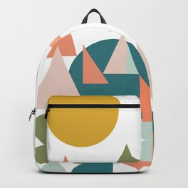 Abstract Geometric Landscape in Teal, Coral, and Blush Backpack