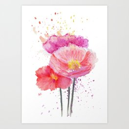 Colorful Watercolor Poppies Art Print