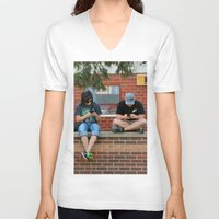 text V-neck T-shirts featuring Text Chat by IowaShots