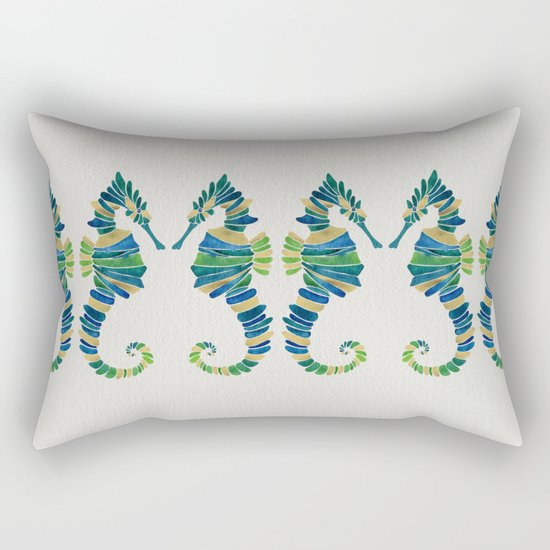 Seahorse – Watercolor & Gold Rectangular Pillow