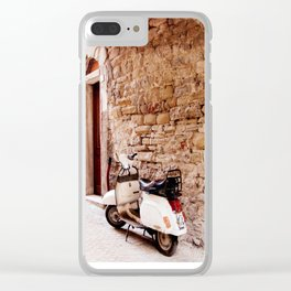 Vespa Resting in Umbria, Italy Clear iPhone Case