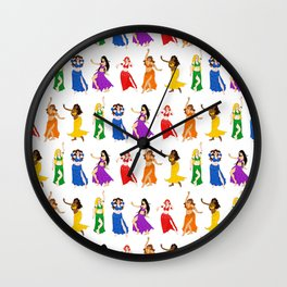 Belly Dancers - Rainbow Colors Wall Clock