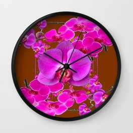 Coffee Brown Color Abstracted Modern Purple Moth Orchids Wall Clock