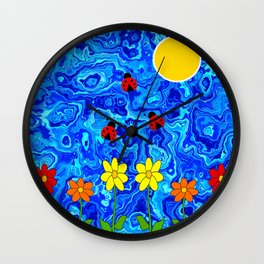 Blue Sky Summers Day Wall Clock