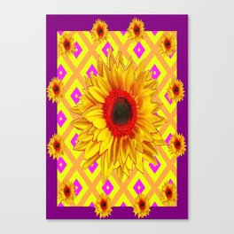 Glorious Yellow-red Sunflower Purple-yellow Patterns Canvas Print