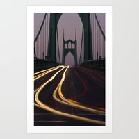 marc johns Art Prints featuring St. Johns Bridge II by Cameron Booth