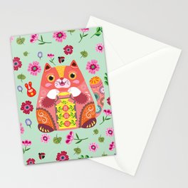 Happy Fortune Cat Stationery Cards