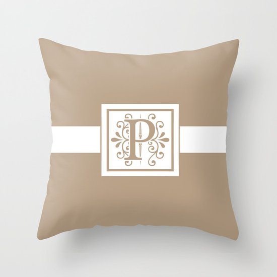 Monogram Letter Throw Pillow : Monogram Letter P on Beige Background Throw Pillow by Lena Photo Art Society6