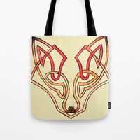 celtic Tote Bags featuring Celtic fox - celtic knot by Ioreth