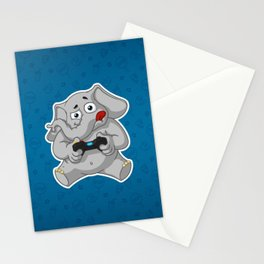 Elephant gamer Stationery Cards