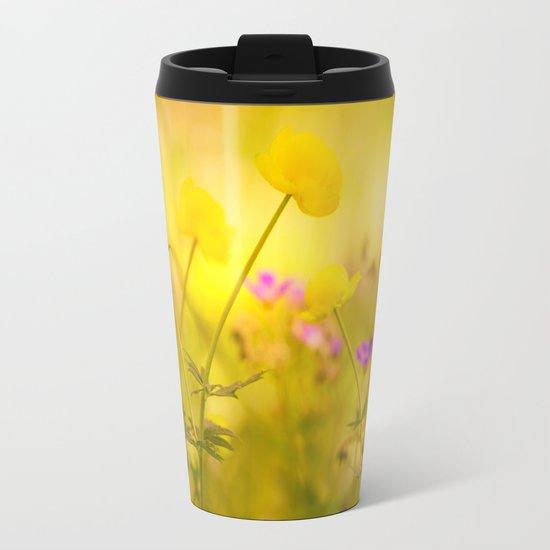 Wild flowers in the golden sunset shades Metal Travel Mug