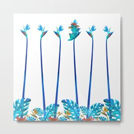 Cute Blue Dragon Tropical Floral Landscape Metal Print