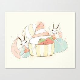 Bunny In Tutu: frozen yoghurt Canvas Print