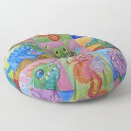 Baby Dragon Funny Monster Comic Illustration Painting for children Nursery decor Floor Pillow