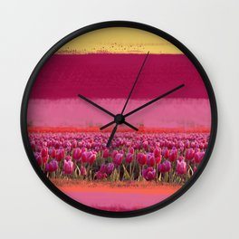 field of tulips Wall Clock